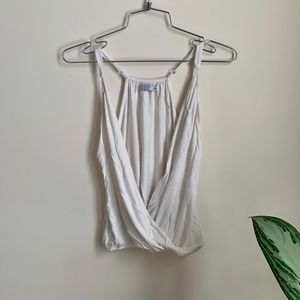 Tobi White Tank Top Deep Scoop Low V Shirt sz XS